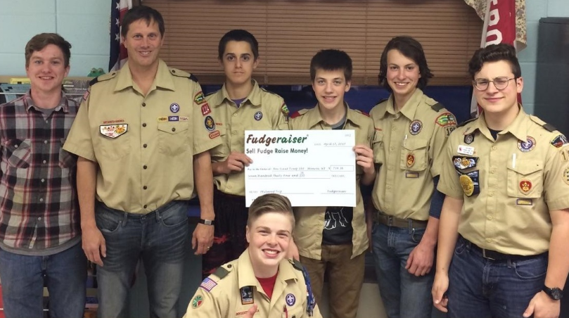Boy Scouts with Fudgeraiser check